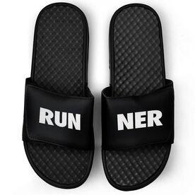 Running Black Slide Sandals - RUNNER Text