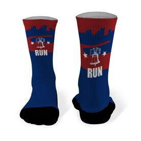 Running Printed Mid Calf Socks Philadelphia Skyline