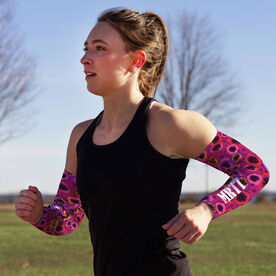 Running Printed Arm Sleeves - Moms Run This Town Poppy Pattern
