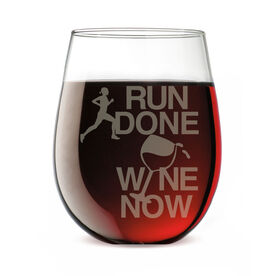 Running Stemless Wine Glass Run Done Wine Now Female