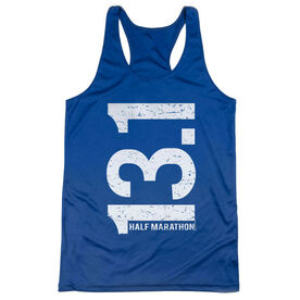 Women's Racerback Performance Tank Top - 13.1 Half Marathon Vertical