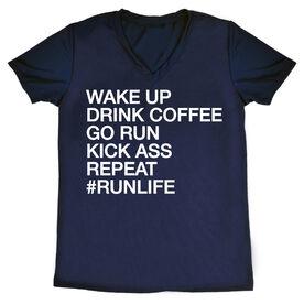 Women's Running Short Sleeve Tech Tee - Wake Up Drink Coffee Go Run #runlife