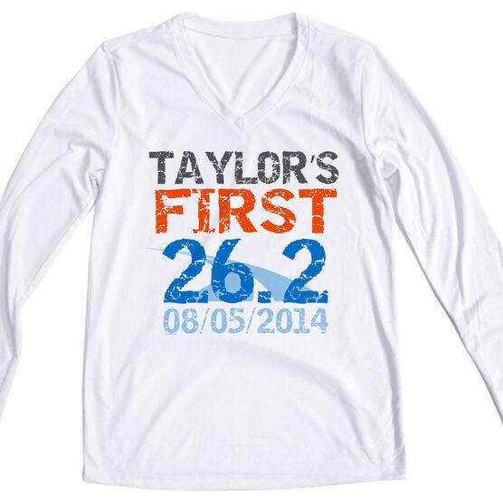 Women's Customized White Long Sleeve Tech Tee First Marathon (Distressed)