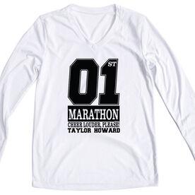Women's Customized White Long Sleeve Tech Tee 1st Marathon