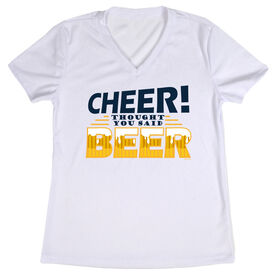 Women's Customized White Short Sleeve Tech Tee Cheer Thought You Said Beer