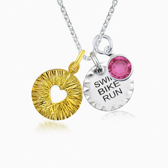 Livia Collection Sterling Silver and 14K Gold Vermeil Swim Bike Run Triumph Necklace