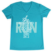 Women's Running Short Sleeve Tech Tee She Believed She Could So She Did 26.2