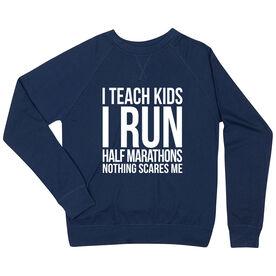 Running Raglan Crew Neck Sweatshirt - I Teach Kids I Run Half Marathons