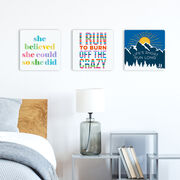 """Running 12"""" X 12"""" Removable Wall Tile - Life's Short Run Long (Mountains)"""