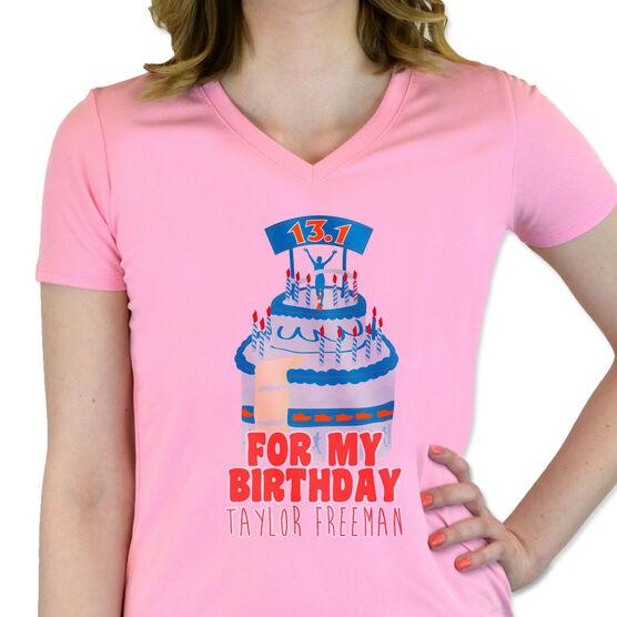 Women's Customized Pink Short Sleeve Tech Tee Run For My Birthday (13.1)