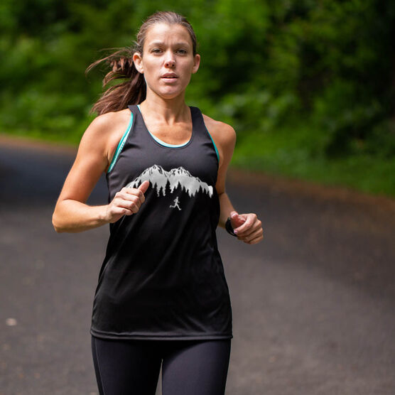 Women's Racerback Performance Tank Top - Trail Runner in the Mountains