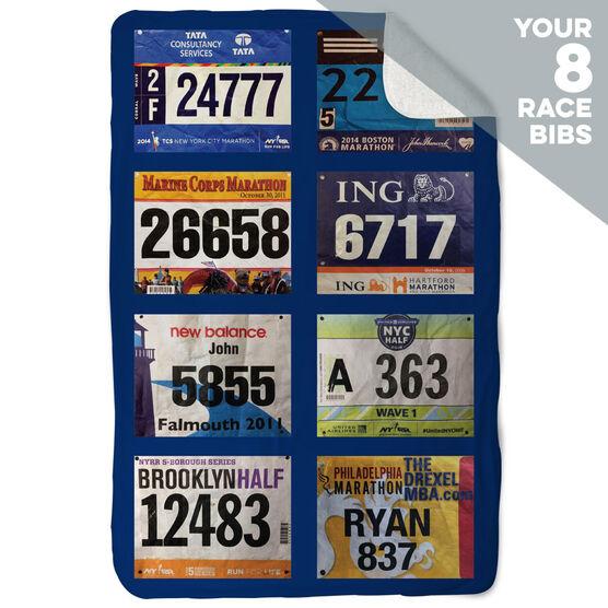 Running Sherpa Fleece Blanket - Your Race Bibs