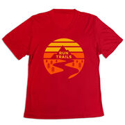 Women's Short Sleeve Tech Tee - Run Trails Sunset