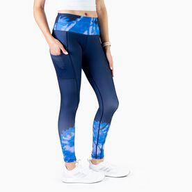 Women's Performance Side Pocket Tights - Tie Dye