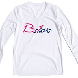 Women's Customized White Long Sleeve Tech Tee 13.1 Believe