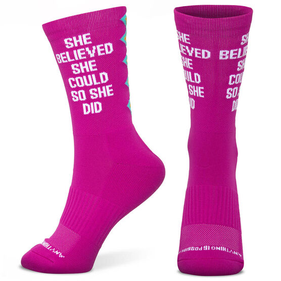 Socrates® Mid-Calf Performance Socks - She Believed She Could
