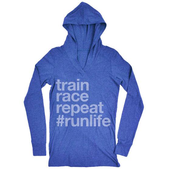 Women's Running Lightweight Performance Hoodie - Train Race Repeat