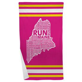 Running Beach Towel Maine State Runner