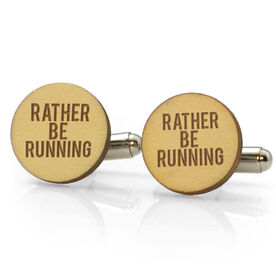 Running Engraved Wood Cufflinks I'd Rather Be Running