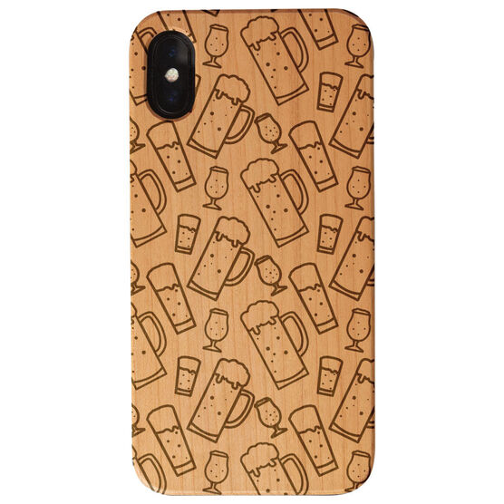 Running Engraved Wood IPhone® Case - Beer Glasses