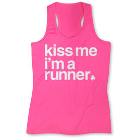 Women's Performance Tank Top - Kiss Me I am a Runner Saying