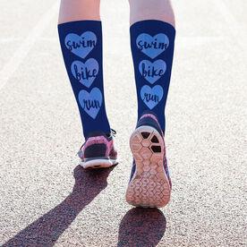 Triathlon Printed Mid-Calf Socks - Swim Bike Run Watercolor Hearts