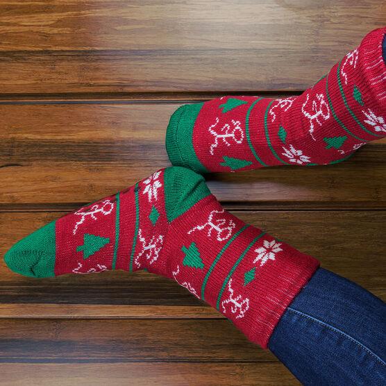 Running Slipper Socks with Sherpa Lining (Christmas)