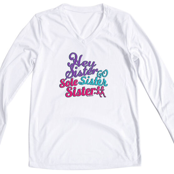 Women's Customized White Long Sleeve Tech Tee Hey Sister Go Sister Sole Sister