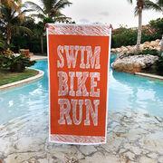 Triathlon Premium Beach Towel - Swim Bike Run Stacked