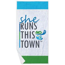 Running Premium Beach Towel - She Runs This Town Stacked