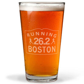 Running Boston Sign 16 oz Beer Pint Glass