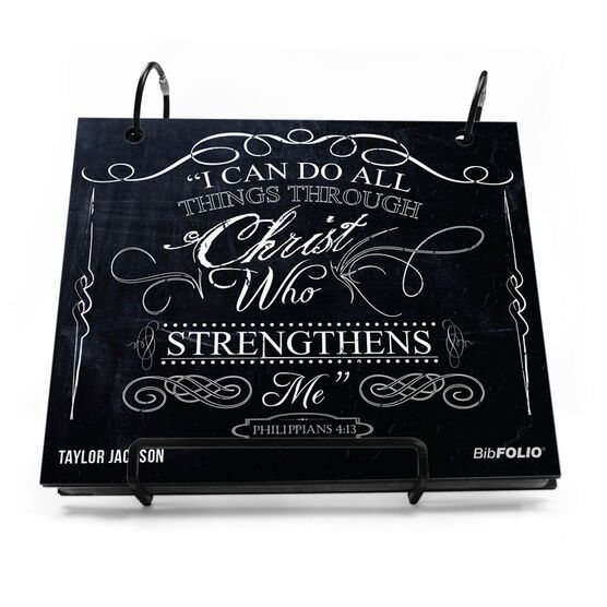 BibFOLIO® Race Bib Album - I Can Do All Things Through Christ Chalkboard