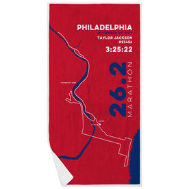 Running Premium Beach Towel - Philadelphia 26.2 Route