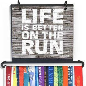 BibFOLIO Plus Race Bib and Medal Display - Life Is Better On The Run Rustic