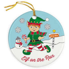 Running Porcelain Ornament Elf On The Run  - SS
