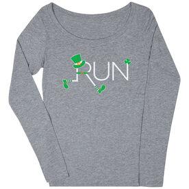 Women's Runner Scoop Neck Long Sleeve Tee - Let's Run Lucky