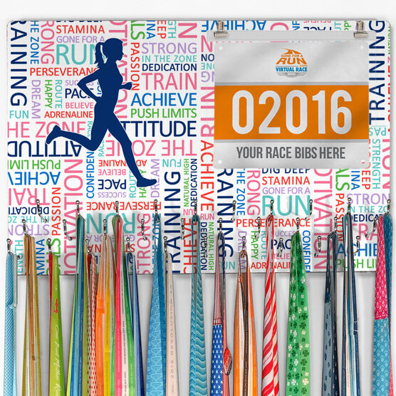 27d24512d5b9b Running Large Hooked on Medals and Bib Hanger - Inspirational Words Female