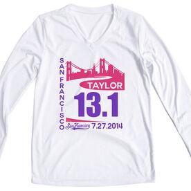 Women's Customized White Long Sleeve Tech Tee San Francisco Skyline 13.1