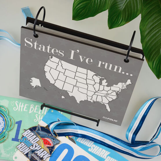 BibFOLIO® Race Bib Album - Running The Usa Map Dry Erase