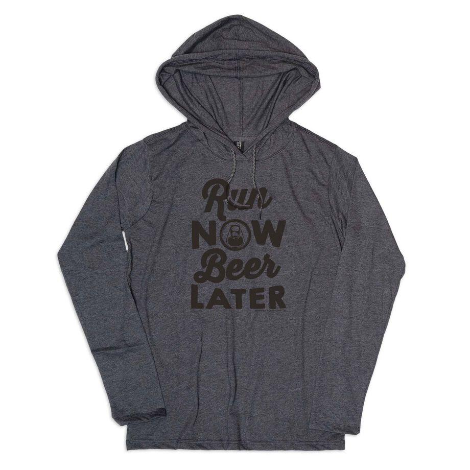 Men's Running Lightweight Hoodie - Run Club Run Now Beer Later (White Tee)
