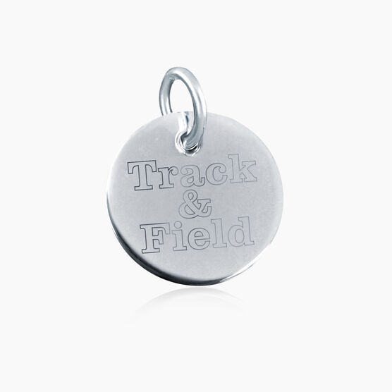 Sterling Silver Track & Field Engraved 20mm Pendant Charm