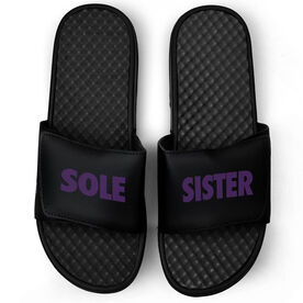Running Black Slide Sandals - Sole Sister Text