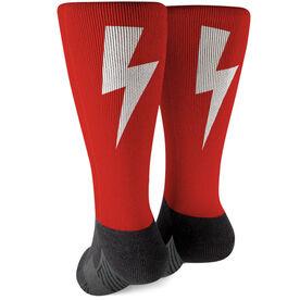 Running Printed Mid-Calf Socks - Lightning Bolt