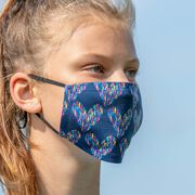 Running Face Mask - Heart with Runners Repeat