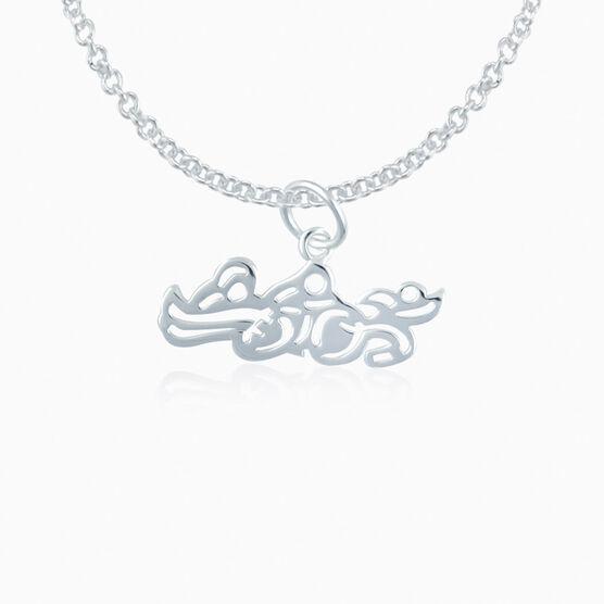 Sterling Silver Swim Bike Run Triathlon Necklace