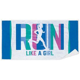 Running Premium Beach Towel - Let's Run Like A Girl