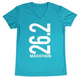 Women's Running Short Sleeve Tech Tee 26.2 Marathon Vertical