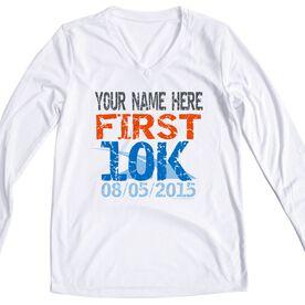 Women's Customized White Long Sleeve Tech Tee First 10K
