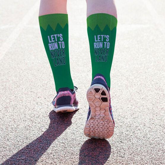 Running Printed Mid-Calf Socks - Let's Run To Neverland