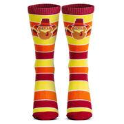 Running Woven Mid-Calf Socks - Run Now Gobble Later (Yellow/Orange/Brown)